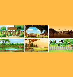Six scenes with animals in park vector