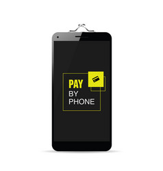 Smartphone black with pay by phone message and vector