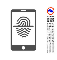 Smartphone fingerprint scanner icon with set vector
