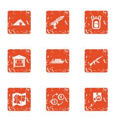 Storage facility icons set grunge style vector