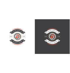 Sushi logo and badge japanese food restaurant vector