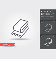 towel line icon with editable stroke with shadow vector image