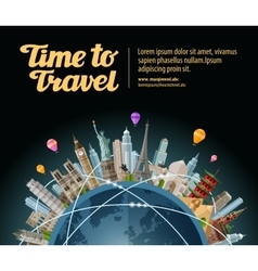 Trip to world travel landmarks on globe vector