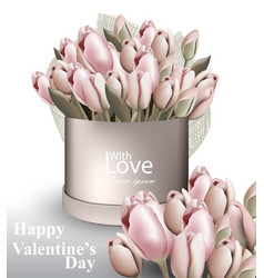 tulip flowers bouquet box realistic vector image