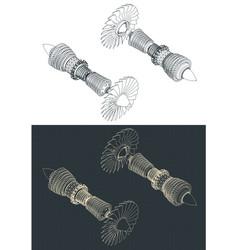 Turbofan compressor isometric drawings vector