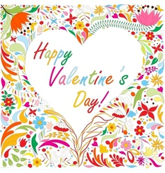 Valentines card with bright doodle floral pattern vector image