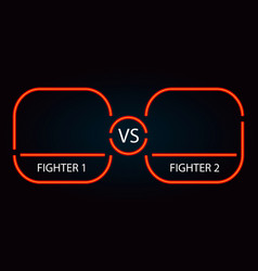 versus neon red battle frame and background vector image