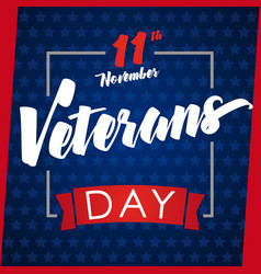 veterans day greeting card blue vector image