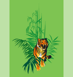 Walking and snarling tiger surrounded by tropical vector