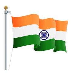 waving india flag isolated on a white background vector image