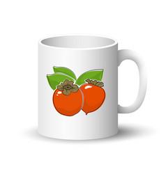 White mug with orange persimmon vector