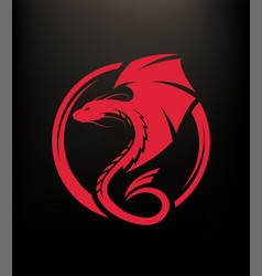 winged dragon circle logo symbol on a dark vector image