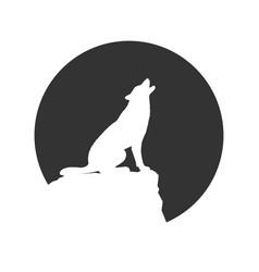 Wolf on rock vector