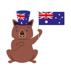 Wombat with hat australian flag celebration vector