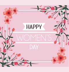 womenday day card with flowers decoration to event vector image