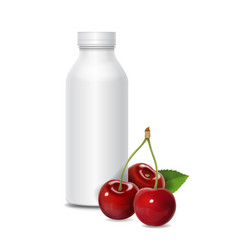 yogurt bottle ads with cherry vector image