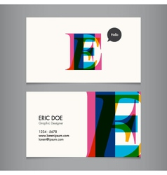 Business card template letter E vector image vector image
