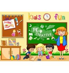 Children studying in classroom vector image vector image