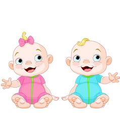 Cute smiling twins vector image vector image