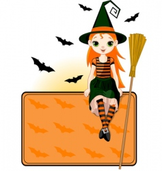 little halloween witch place card vector image