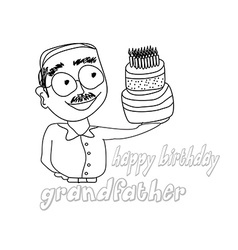 birthday cake hold by grandfather vector image