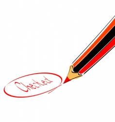 check mark with pencil vector image