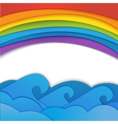 Rainbow background with sea waves vector image vector image