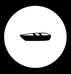 small boat simple silhouette black icon eps10 vector image vector image