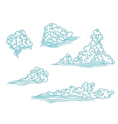 Blue and fluffy clouds set vector image vector image