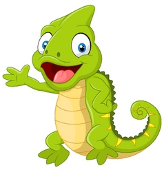Cartoon cute Chameleon waving hand on white backgr vector image vector image