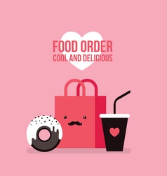 delicious donut coffee and shopping bag cute foo vector image