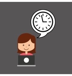 Support assitance concept girl with clock time vector