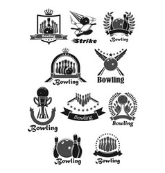 icons set of bowling game tournament awards vector image vector image