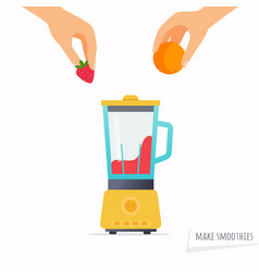 make a smoothie hand holding fruit flat design vector image vector image