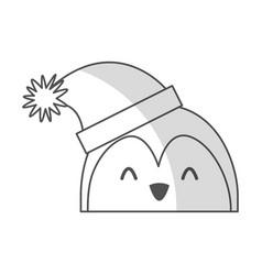 shadow christmas penguin face cartoon vector image