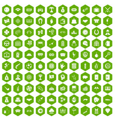 100 gambling icons hexagon green vector