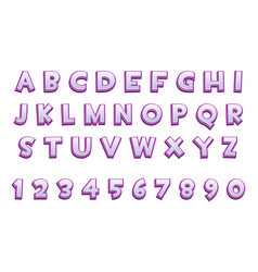 3d purple alphabet and numbers for ui games text vector image