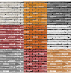 9 seamless patterns old cracked brick wall vector image