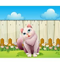 A big cat near the wooden fence vector image