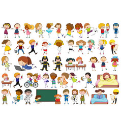 active simple kids doing various activities vector image
