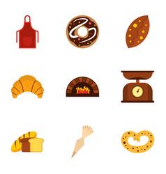 Baking icons set flat style vector