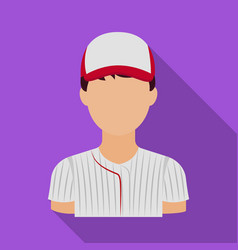 Baseball player baseball single icon in flat vector