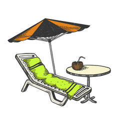 beach objects engraving vector image