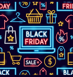 black friday neon seamless pattern vector image