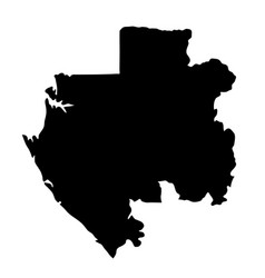 black silhouette country borders map of gabon on vector image