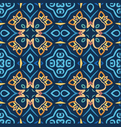 blue seamless pattern oriental design vector image