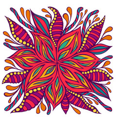 Bright colorful doodle style flower with many vector