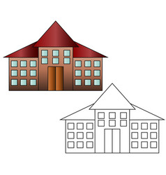 bright flat of school building for back to school vector image