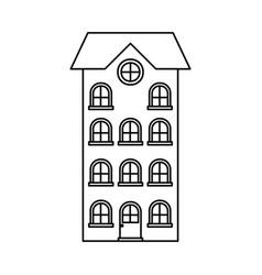 building apartment of four floors monochrome vector image