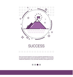 business success leadership mountain top banner vector image